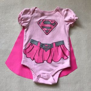 Supergirl Baby Pink Bodysuit & Cape